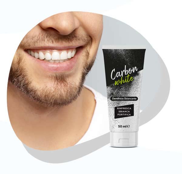dentifricio sbincante con carbone attivo Carbon White