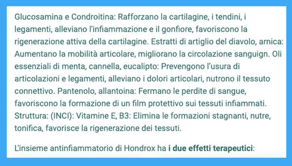 Ingredienti di Hondrox
